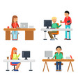 freelancers male and female at computer workspace vector image