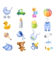 Toys and accessories for baby boy vector image