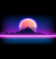 80s retro sci-fi background with sunrise or sunset vector image vector image