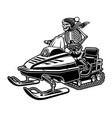 a skeleton on snowmobile vector image vector image