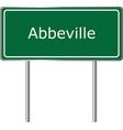 abbeville alabama usa road sign green vector image vector image