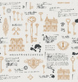 abstract seamless pattern with old houses and keys vector image vector image