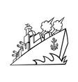 american destroyer warship or battleship vector image vector image