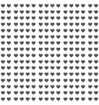 black heart seamless pattern on white background vector image