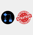 block diagram icon and scratched strategy vector image vector image