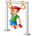 boy hanging on the bar vector image