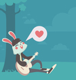 Bunny in Love Singing Under the Tree vector image