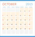 Calendar 2015 flat design template October Week vector image