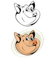 cartoon head of pig vector image