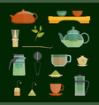 cartoon tea ceremony icons set vector image