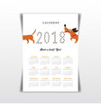 creative calendar 2018 with cute cartoon vector image