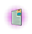 Curriculum vitae with photo icon comics style vector image vector image
