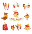 Cute Birthday Party Celebration Things Characters vector image vector image