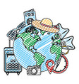 doodle global planet with journey travel objects vector image vector image