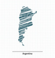 Doodle sketch of Argentina map vector image vector image