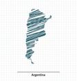Doodle sketch of Argentina map vector image