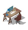 empty desktop for businessman isometric vector image vector image