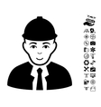 Engineer Icon With Air Drone Tools Bonus vector image