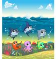 Funny marine animals on the ocean floor vector image vector image