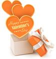Gift box with big hearts vector image vector image