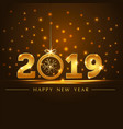 golden 2019 year card presentation vector image