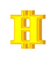 h letter bitcoin font cryptocurrency alphabet vector image vector image