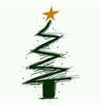 hand drawn christmas tree symbol or logo vector image vector image