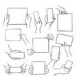 hands holding empty paper sheets set blank pages vector image