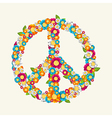 Isolated peace symbol made with flowers vector image vector image