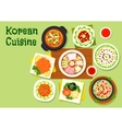 Korean cuisine dishes icon for asian menu design vector image vector image