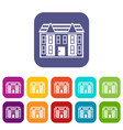 large two-storey house icons set vector image vector image