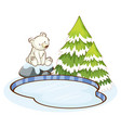 little polar bear pond vector image vector image