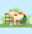 milkmaid is working at countryside milking cow in vector image vector image