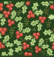 misteltoe seamless pattern green background vector image vector image