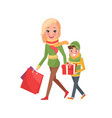 mom and boy with wrapped gift boxes and packages vector image vector image