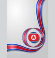 north korean flag wavy background vector image vector image