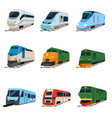 retro and modern trains locomotive set railway vector image vector image