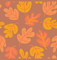 seamless pattern of autumn oak leaves vector image