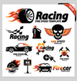 set car racing logotipe symbols vector image