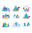 set flat vacationing people winter entertainment vector image vector image