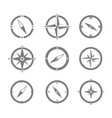 set of monochrome icons with compass vector image vector image