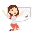 Soccer player celebrating scoring goal vector image vector image