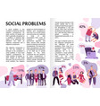 social problems infographics vector image vector image