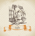 Still life with coffee vintage hand drawn vector image