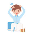 stress at work tired employee with books pen and vector image vector image