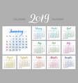 stylish menology 2019 january separately dark vector image vector image