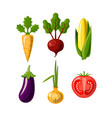 vegetables flat icons isolated on white background vector image
