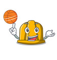 with basketball construction helmet character vector image vector image