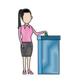 woman putting voting paper in the ballot box vector image vector image