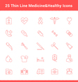 Set of Thin Line Stroke Medical Icon vector image
